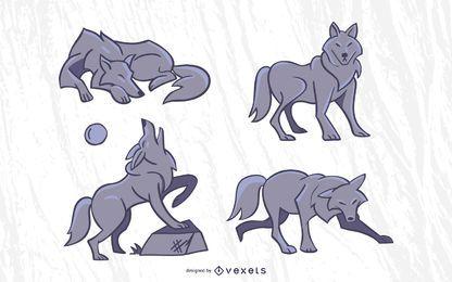 Conjunto de vector de lobo con estilo