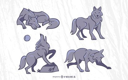Stylish Wolf Vector Set