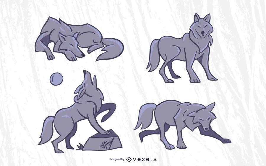 Conjunto de vectores de lobo con estilo