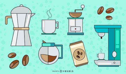 Conjunto de vetores de elementos de café