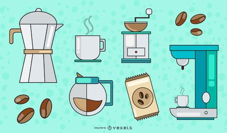 Kaffee Elements Vector Set