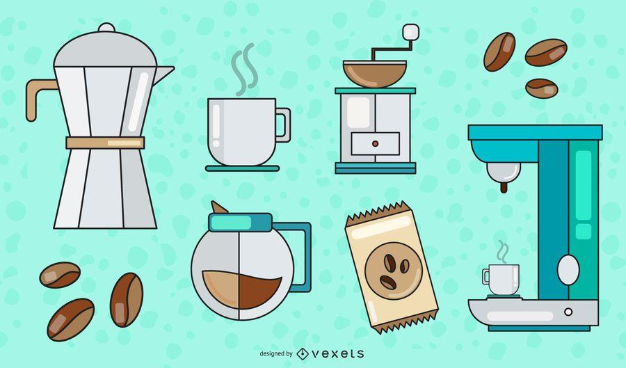 Coffee Elements Vector Set