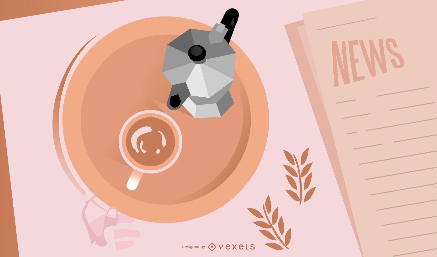 Papel de parede de cafeteira Moka
