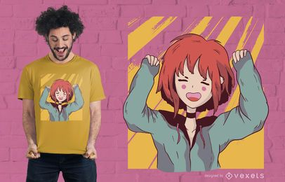 Happy Anime Girl T-Shirt Design