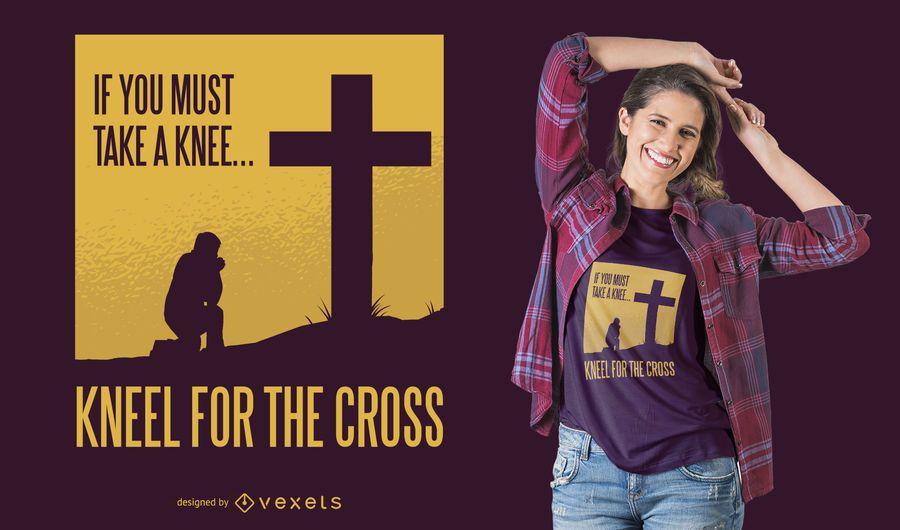 Diseño de camiseta de rodillas para la cruz