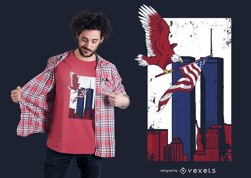 Projeto memorável do t-shirt das torres gémeas
