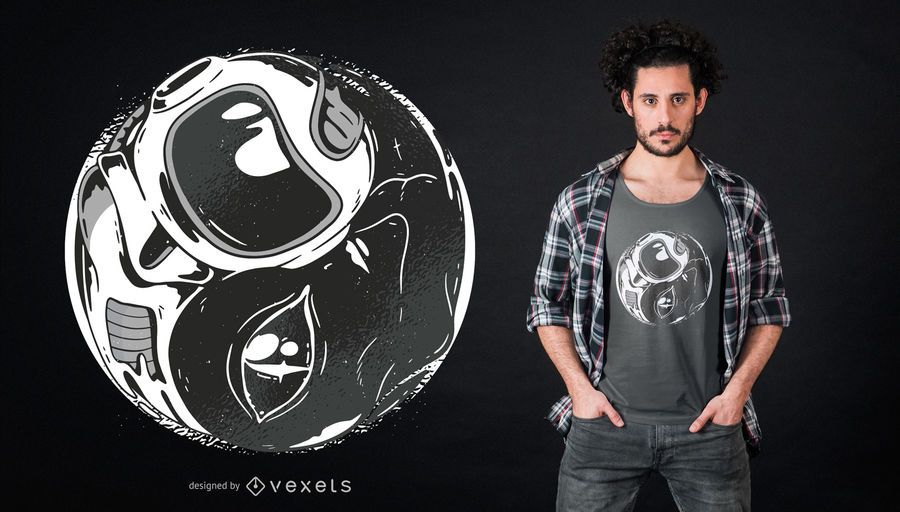 Alien Astronaut Ying Yang T-shirt Design