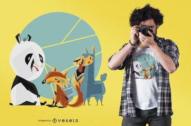 Diseño de camiseta de amigos de animales