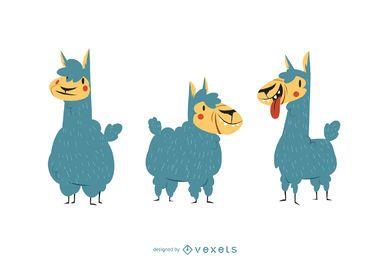 Conjunto de vetores de ilustração de alpaca bonito