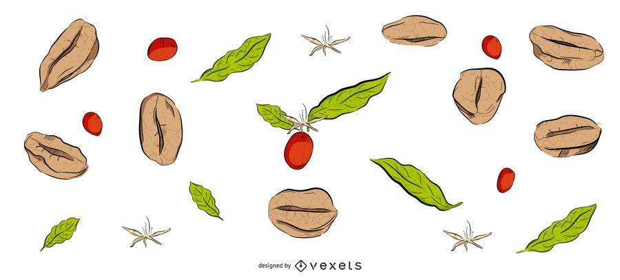Design de plano de fundo de grãos de café
