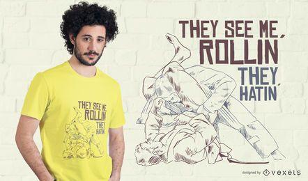 Diseño de camiseta de Jiu Jitsu