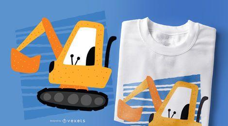 Diseño de camiseta estilo Doodle de excavadora