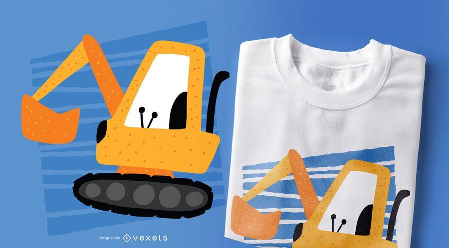Design de t-shirt de estilo de Doodle de escavadeira