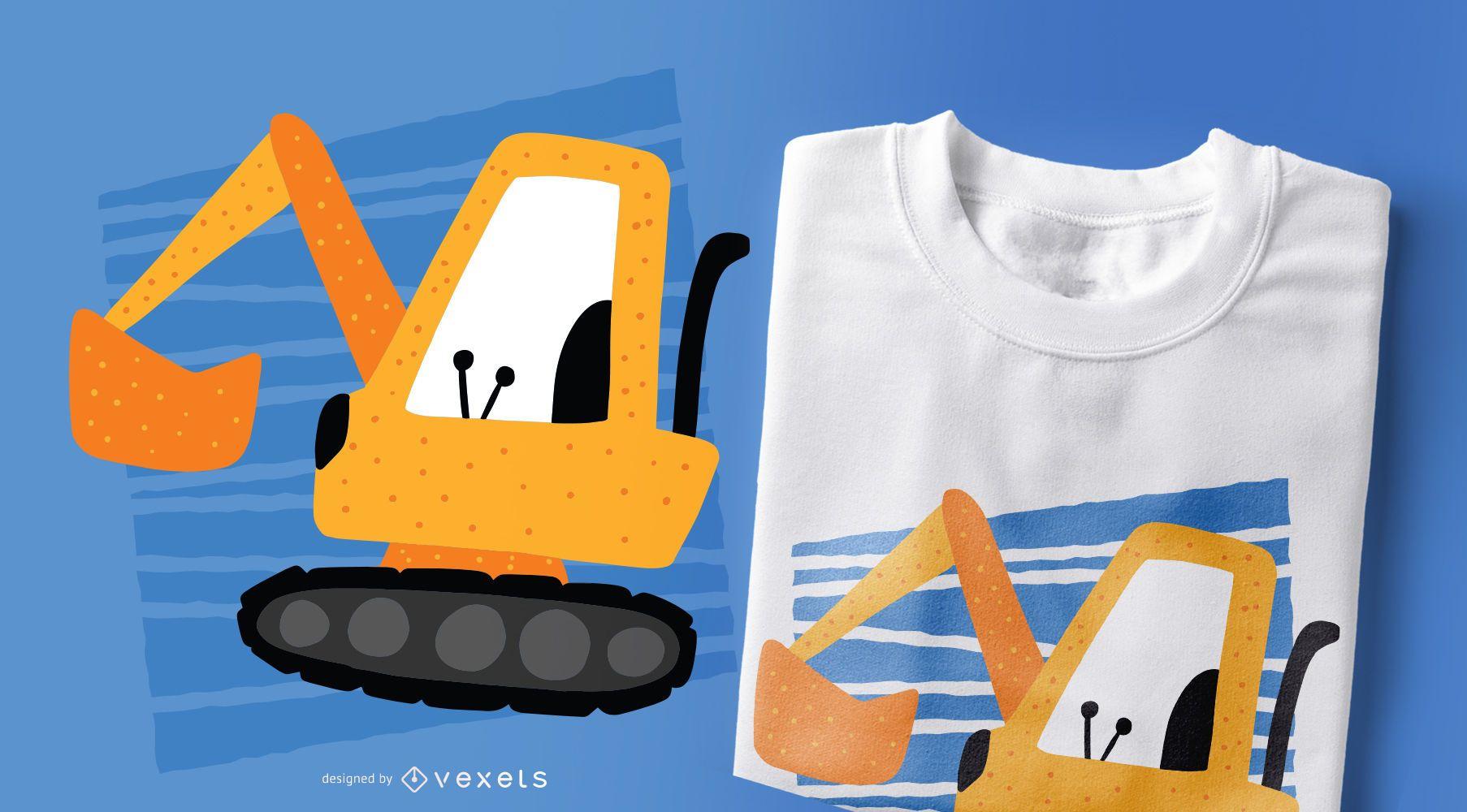 Diseño de camiseta Excavator Doodle Style