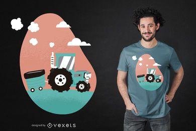 Diseño de camiseta de tractor de granja