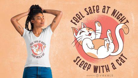 Design engraçado da camiseta do gato dormindo