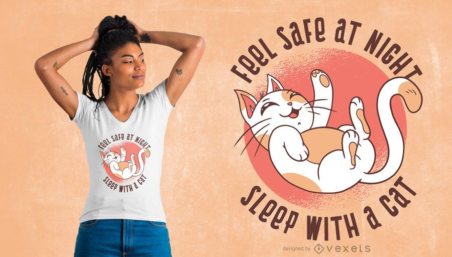 Funny Sleep Cat T-shirt Design