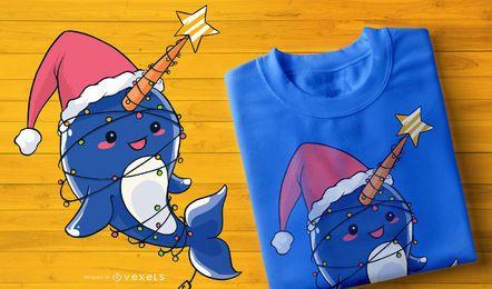 Projeto do t-shirt do Narwhal do Natal do bebê