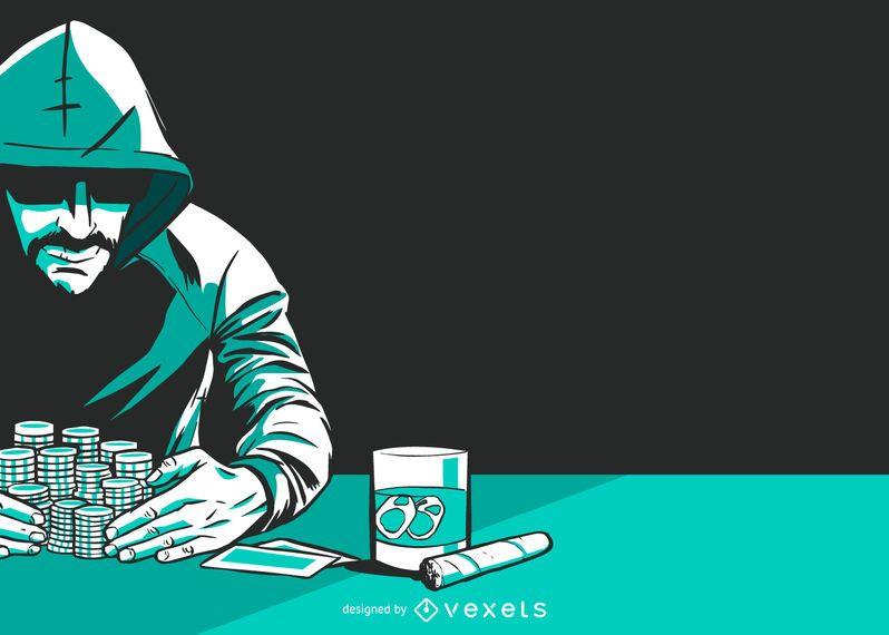 Gráfico de vetor de jogador de pôquer