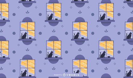 Diseño de patrón de ventana otoñal
