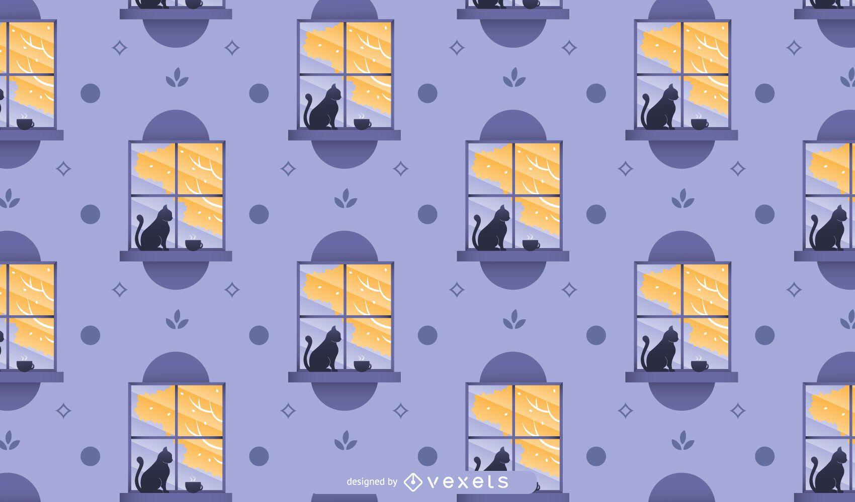 Diseño de patrón de ventana de otoño