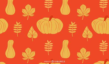 Abóboras e folhas padrão de outono