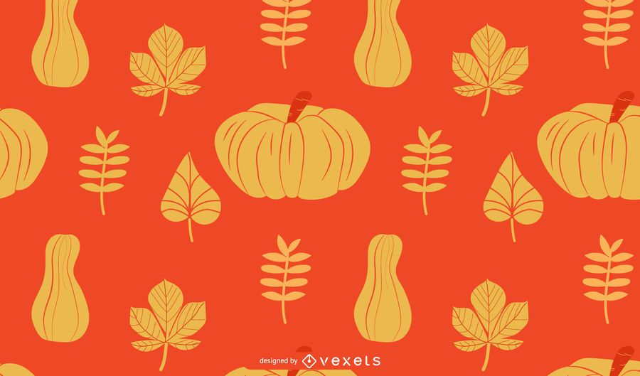 Pumpkins and leaves autumn pattern