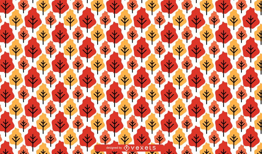 Seamless Autumn Trees Pattern