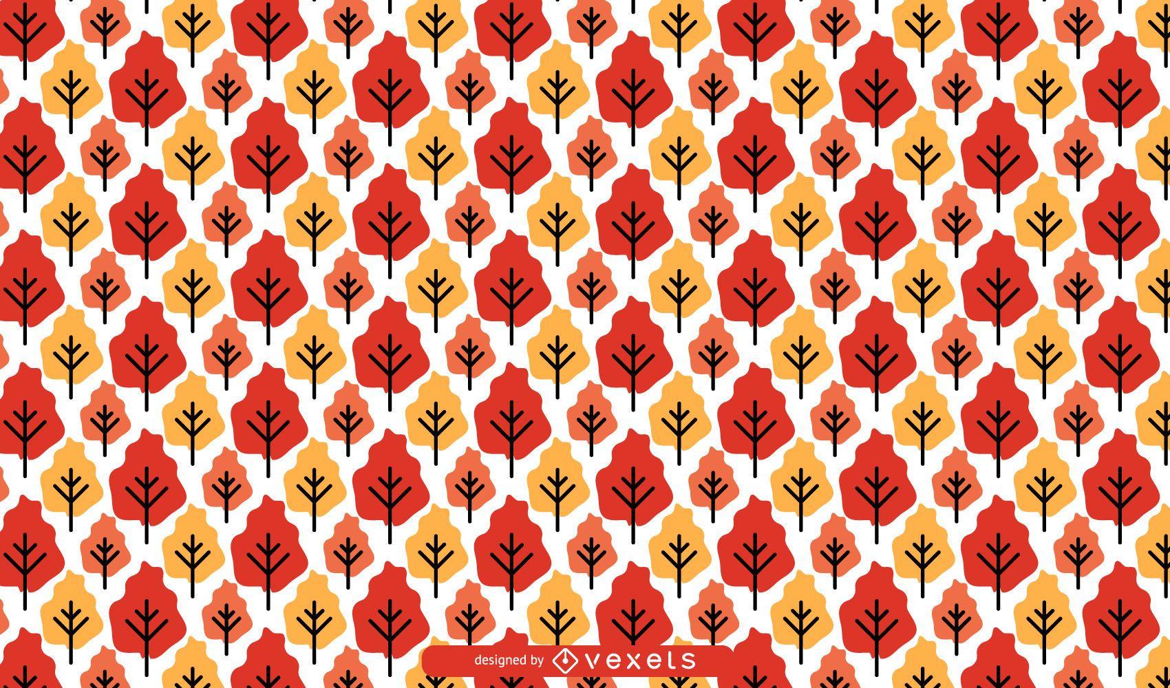 Padrão de árvores de outono sem costura