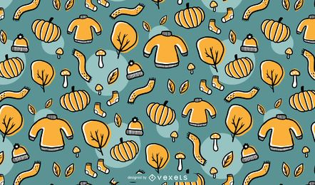 Hand gezeichneter Autumn Pattern Background Design