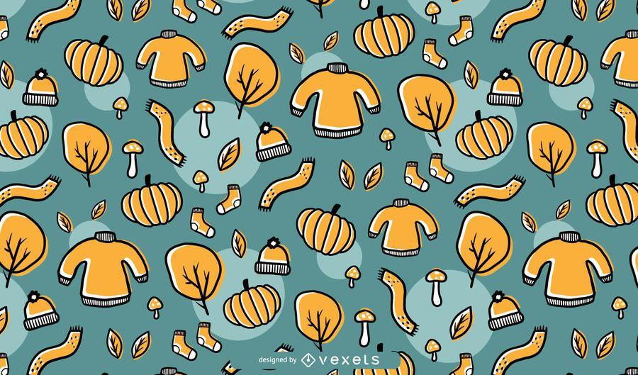 Dibujado a mano otoño patrón fondo diseño