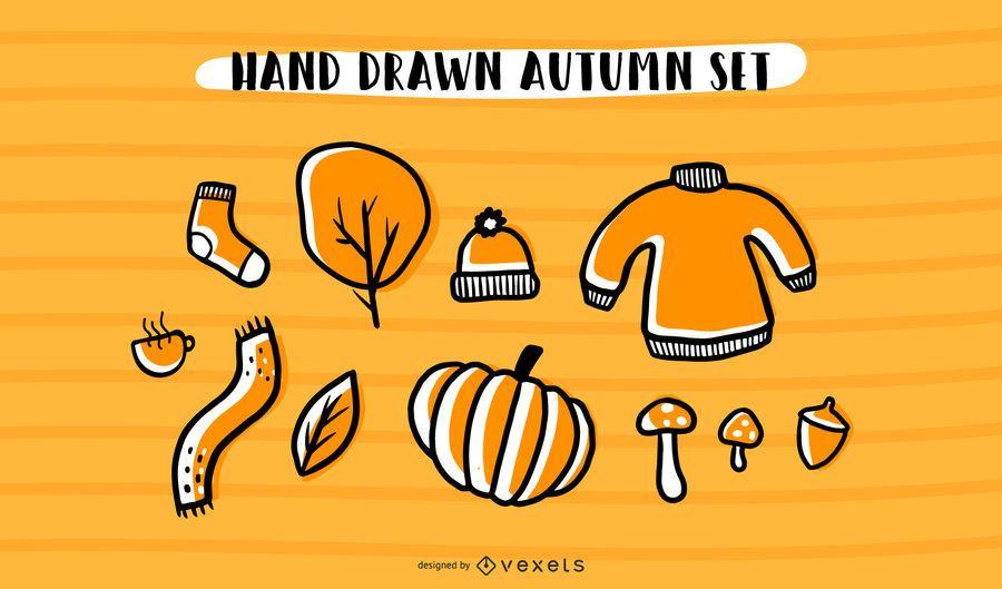 Mão desenhada Outono Vector Set