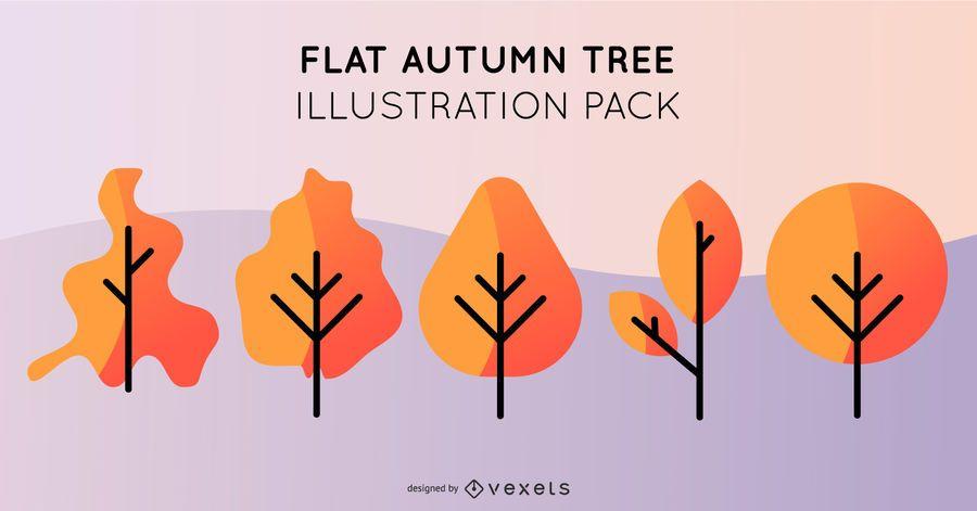 Pacote de ilustração de árvore de outono plana