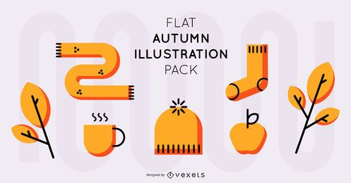 Paquete plano de ilustración de otoño