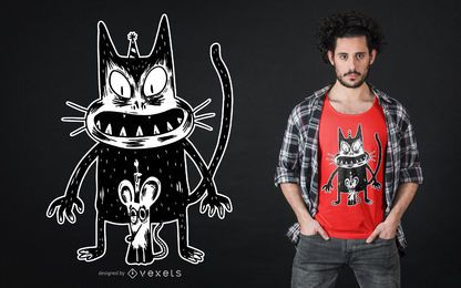 Design de camiseta para gato e rato assustador