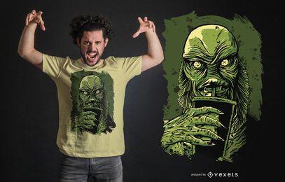 Schwarzes Lagunen-Geschöpf-T-Shirt Design