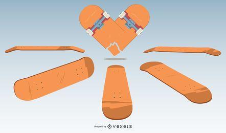 Conjunto de vector de patineta