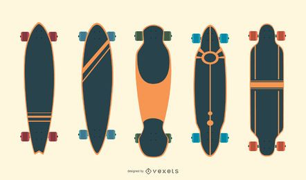 Longboards Vektor festgelegt