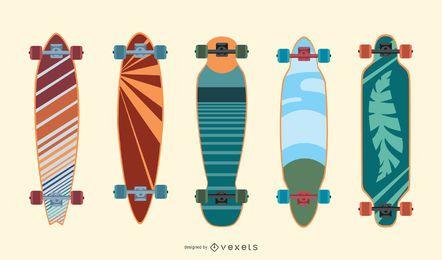 Bunter longboards Vektorsatz