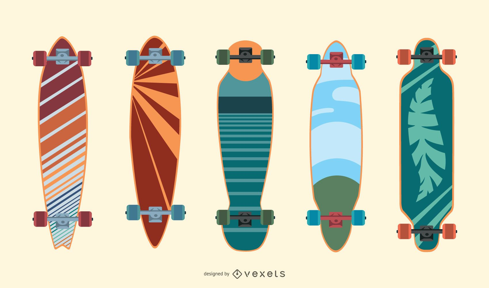 Colorful longboards vector set