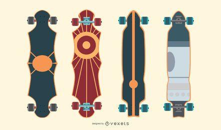 Pacote de vetor de longboards artísticos