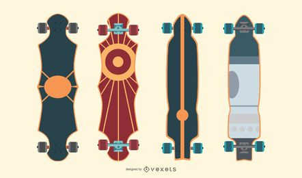 Pacote de vetores artísticos de longboards