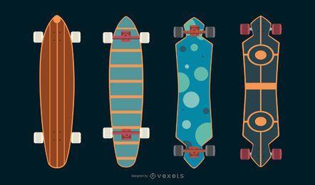 Conjunto de vector de skate longboard