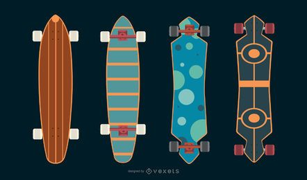 Longboard skate vector set