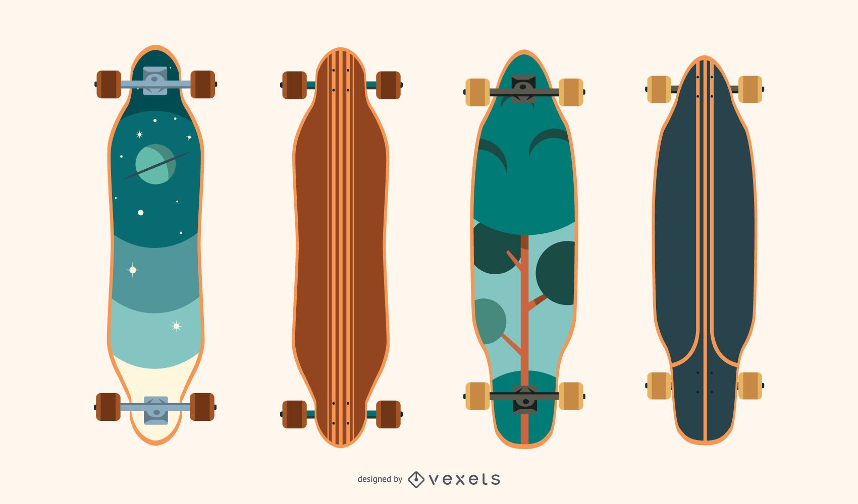 Cool longboards vector set