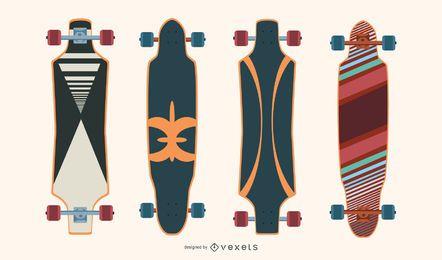 Longboarding Vektor festgelegt