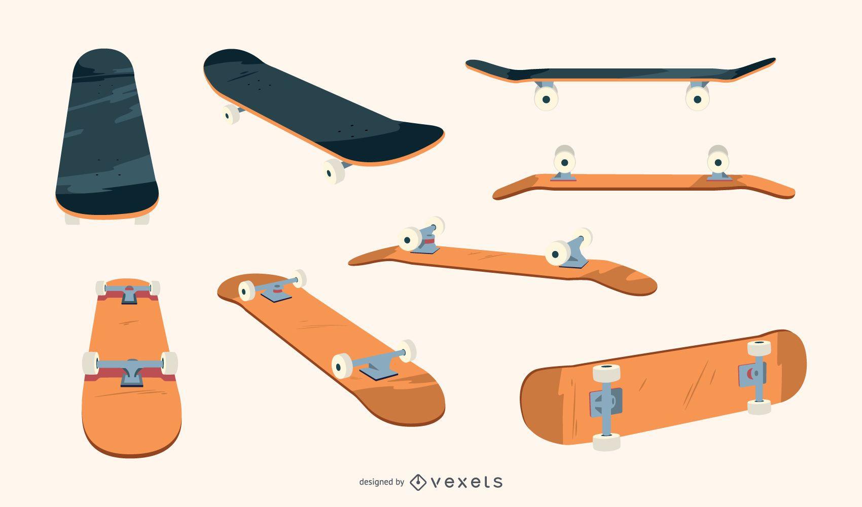 Plain skateboards vector set