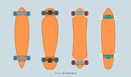 Blank longboards vector set