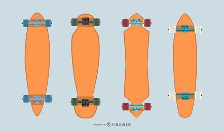 Conjunto de vectores de longboards en blanco