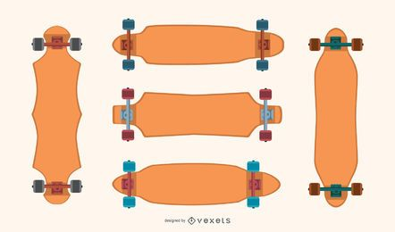 Conjunto de vetor em branco de longboards